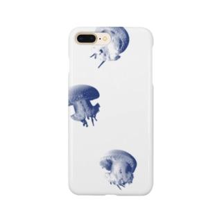 水玉模様のクラゲ プンクタータ(白紺) Smartphone cases