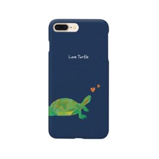 Love Turtle Heart ネイビー Smartphone cases