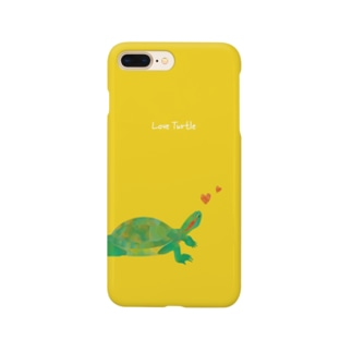 Love Turtle Heart イエロー Smartphone cases