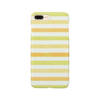 ビンテージストライプ 【ライム&オレンジ】  Smartphone cases