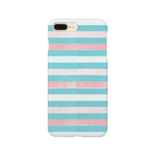 ビンテージストライプ 【ライトピンク】  Smartphone cases
