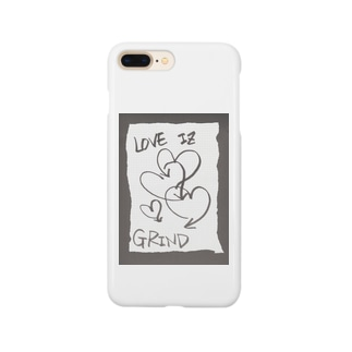 偽諺~壱~「ラヴイズグラインド」(黒縁) Smartphone cases