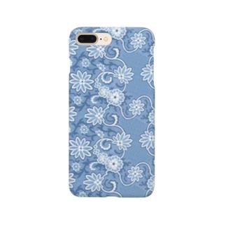 ボタニカルパターン【ウェッジウッド ブルー】 Smartphone cases