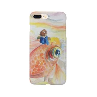 金魚と少年と夕やけ Smartphone cases