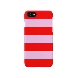 Border Stripe (Red × Pink) スマートフォンケース