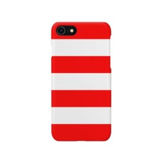 Border Stripe (Red) スマートフォンケース