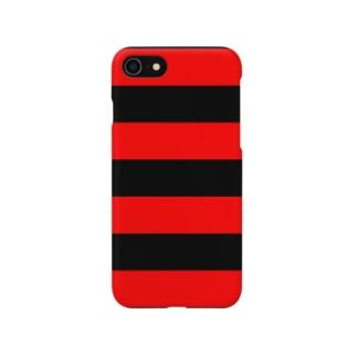 Border Stripe (Black × Red) スマートフォンケース