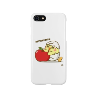 ひよこの「ぴよきち」スマホケース(りんご) Smartphone cases