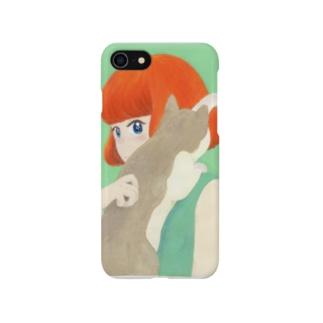 猫と赤毛の子 スマートフォンケース