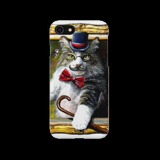 ボールペン画と可愛い動物の吾輩は猫でR スマートフォンケース