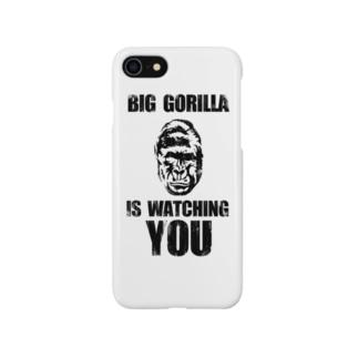 BIG GORILLA IS WATCHING YOU(黒字) Smartphone cases