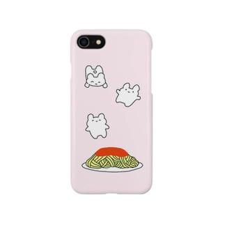 うさぎとミートソースパスタ ピンク Smartphone cases