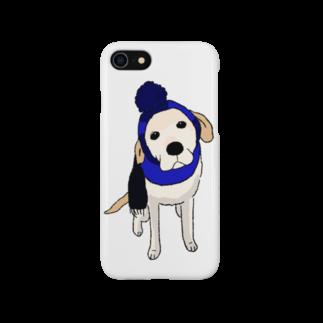 Dog Drawer Drawn by Dogのポンポンニット帽 Smartphone cases