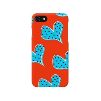 青ドットハート Smartphone cases