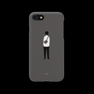 そう l イラストレーターのショルダーバック男子(ブラック) スマートフォンケース