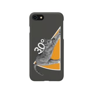 ネコの30°(ダークカラー) Smartphone cases
