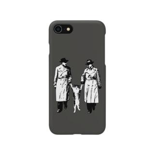 捕まったネコ(モアレ / ダークグレー) Smartphone cases