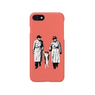 捕まったネコ(モアレ / ピンク) Smartphone cases