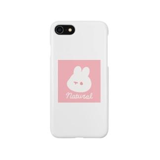 ピンクのナチュラルうさぎ Smartphone cases