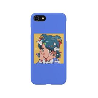 でこれ〜しょん(blue) Smartphone cases