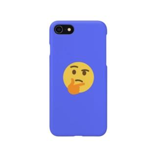 シンキングフェイス青 Smartphone cases