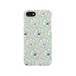 文鳥のお食事 green Smartphone cases