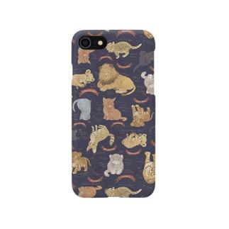 ネコカスケッチ(ネイビー) Smartphone cases