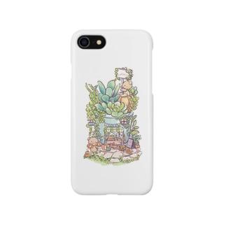 くまちゃんマルシェ(ホワイト) Smartphone cases