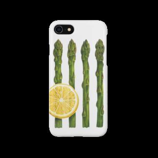 オハデザインのアスパラガスとレモン Smartphone cases