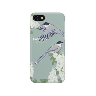 オナガと紫陽花 Smartphone cases