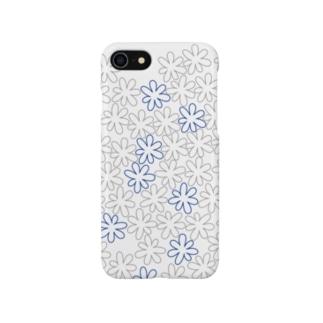 フラワーアスタリスク(グレー*アオ) Smartphone cases