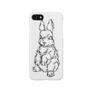 左手で描いたウサギA Smartphone cases