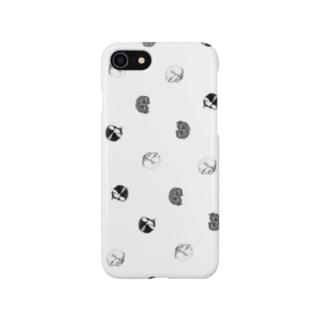 【水玉にゃんもないと3柄】 Smartphone cases