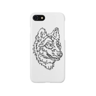 左手で描いたオオカミ Smartphone cases