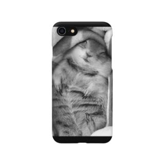 ヘソ天グルマン モノクロ Smartphone cases