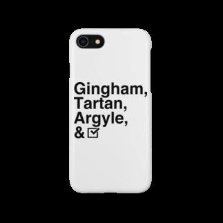 竹下キノの店のチェック柄「四天王」 Smartphone cases