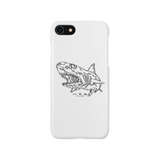 左手で描いたサメ Smartphone cases