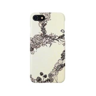 花模様スマートフォンケース Smartphone cases