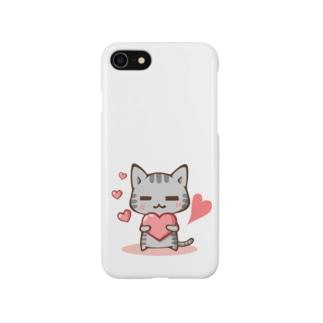 くつろぎ猫(ハート) Smartphone cases