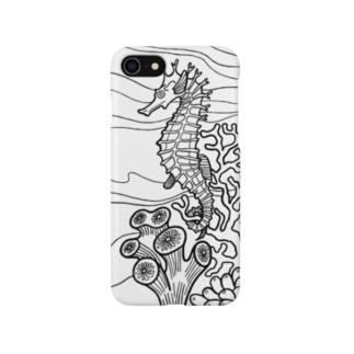 タツノオトシゴ(ホワイト) Smartphone cases