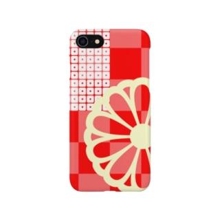 市松模様に菊の花 Smartphone cases