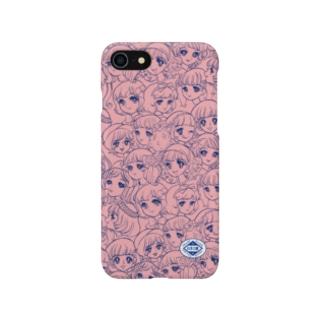 お顔がいっぱい/ピンク Smartphone cases