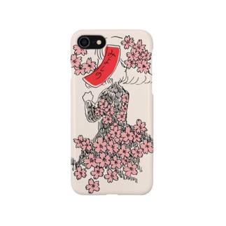 桜に赤短 Smartphone cases