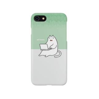ねこ fat cat at home(グリーン) Smartphone cases