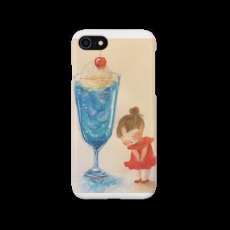おゆみのお店の青いクリームソーダとわたし ※サイズ限定商品 Smartphone cases