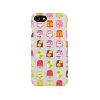 ひんやりアイスキャンディーとことり(アイスグレー) Smartphone cases