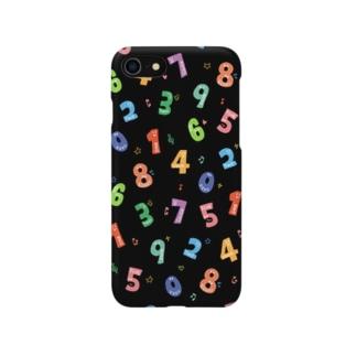 かわいい数字 ブラック Smartphone cases