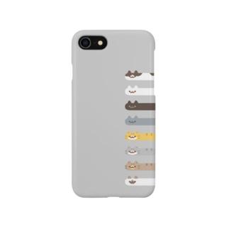 Long Cat その4 全員集合(グレー背景つき) Smartphone cases