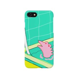 ワニのバスタイム(ピンク) Smartphone cases