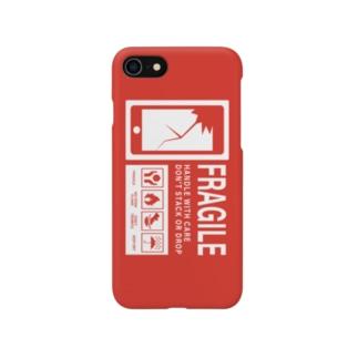 スマホ取り扱い注意 英語 赤 Smartphone cases